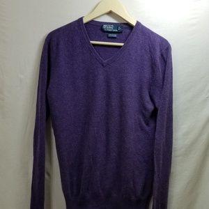 Mens Polo V neck sweater purple S lightweight